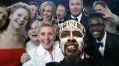 """Ellen at the Oscars surrounded by Meryl Streep, Jennifer Lawrence, Julia Roberts, Angelina Jolie, Kevin Spacey and Brad Pitt was taken by American Hustle star Bradley Cooper and titled: """"If only Bradley's arm was longer. Best photo ever. Julia Roberts, Bradley Cooper, Meryl Streep, Jared Leto, Jennifer Lawrence, Brad Pitt, Les Oscars, Oscars 2014, Kevin Spacey"""