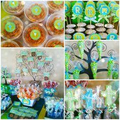 Blue and green First communion decoration! Decoración en azul y verde para Primera Comunión...