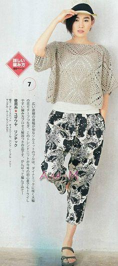 As Grandma In Time: Cropped Crochet Granny, Irish Crochet, Crochet Motif, Crochet Designs, Knit Crochet, Crochet Patterns, Japanese Crochet, Crochet Magazine, Crochet Cardigan