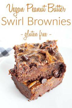 These rich, moist, fudgy Vegan Peanut Butter Swirl Brownies have a gooey sweet peanut butter swirl to make the ultimate sweet treat! #veganbrownies #veganpeanutbutterbrownies