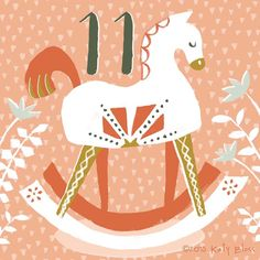 Enjoy a rocking horse ride on day 11 of illustrated advent by Katy Bloss.