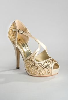 High heel rhinestone sandal features: • 4.75 heel • Matching covered heel • Adjustable ankle strap • Padded insole