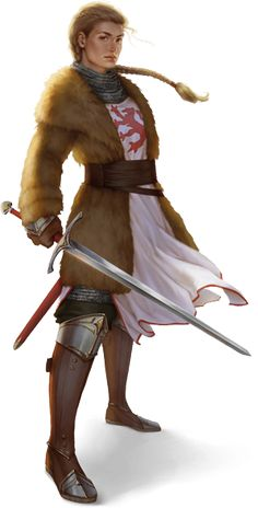 Rondra-Geweihte Leudara Argentalis von Firunen. Bild von Djamila Knopf. Female knight in fur
