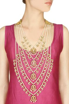 Soranam presents Gold finish kundan stone and pearl chain multi strands necklace available only at Pernia's Pop-Up Shop. Floating Pearl Necklace, Pearl Necklace Vintage, Pearl Necklace Wedding, Vintage Pearls, Pearl Jewelry, Wedding Jewelry, Gold Jewelry, Salwar Kameez, Indian Jewellery Design