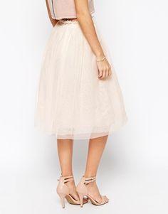 Enlarge John Zack Petite Midi Tulle Skirt
