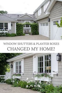 It's amazing how much window shutters & planter boxes can change a home. I am so thrilled that we finally got around to adding these shutters (and the pretty planter boxes) to our house. I think it added just the right touch of charm and whimsey we were hoping for. I also love my planter boxes. This remodel is one of my favorites so far making our home look so much more romantic than before. Traditional Exterior, Modern Exterior, Traditional Decor, Exterior Design, Farmhouse Remodel, Farmhouse Style, Farmhouse Decor, Romantic Homes, Elegant Homes