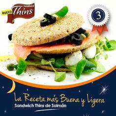 """Sándwich Thins de Salmón. Ganador de """"La receta más Buena y Ligera""""."""