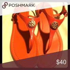 Orange Tory and Burch Sandals 9.5 Orange Tory and Burch Sandals. Minor wear not visible when wearing. Comes with travel bag. Tory Burch Shoes Sandals