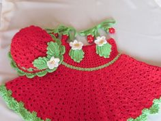 Handmade Girl Crochet Dress and Hat Set With by MagicalStrings