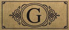 Evergreen Sassafras Switch Mat  Burlap Monogram G 431021G NEW