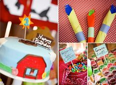 """Farm themed barnyard birthday party via Kara's Party Ideas - having small baskets of """"homegrown"""" veggies and fruit would provide healthy snacks while adding to the decor"""