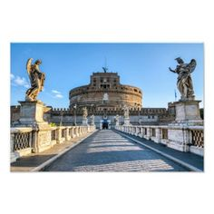 Ponte and Castle Sant'Angelo - Rome Italy Photo Print Travel Wall Decor, Rome Italy, Postcard Size, Castle, Vacation, Middle Ages, Image, Collections, Art
