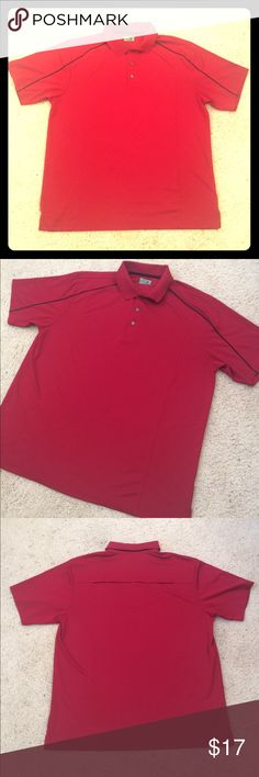 Ben Hogan Men's Golf Polo Collared Shirt Deep Red Ben Hogan brand men's collared polo golf shirt in size XL. Deep red color with black stripes on the arms and breathable fabric holes on the upper back for ventilation. In mostly good condition, has a couple of small snags- one on the front and one on the back. No stains. Measurements- CHEST: 24.5 in. LENGTH: 29.5 in. SLEEVE: 10 in. SHOULDERS: 20 in. If you have any questions, please don't hesitate to ask! Ben Hogan Shirts Polos