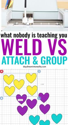 What Do Weld, Attach, & Group mean on Cricut – A MUST read tutorial - what do weld. attach, and group do in Cricut design spacce - Welding Projects, Vinyl Projects, Welding Art, Metal Welding, Welding Ideas, Welding Tools, Vinyl Crafts, Art Projects, Cricut Stencils