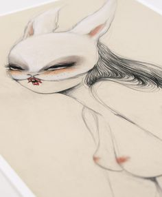 'Bunnylover' the limited edition artwork by artist Miss Van. Available to buy online at Nelly Duff.