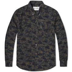 OUR LEGACY 1940S BUTTON DOWN SHIRT Black Landscape Camo