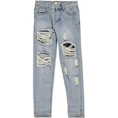 Boohoo Gemma All Over Ripped 7/8th Jeans (290 DKK) via Polyvore featuring jeans, ripped skinny jeans, destroyed skinny jeans, high-waisted jeans, distressed skinny jeans and blue jeans