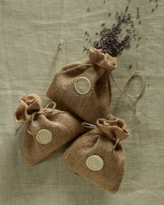 Guests received little burlap bags filled with the farm's own dried organic lavender, which was tossed in lieu of rice.