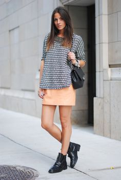 boxy top, mini, ankle boots = drop dead awesome