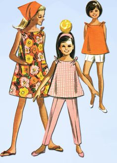 1960s Vintage McCall's Sewing Pattern 7253 Girls Sun Dress Top Pants Size 14 #McCalls #PlayClothesPattern