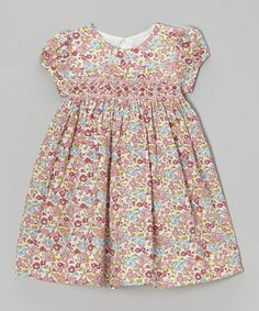 Love this Pink & Blue Floral Smocked Dress - Infant, Toddler & Girls on #zulily! #zulilyfinds