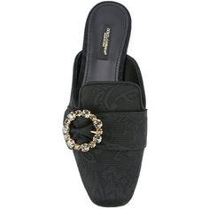 Dolce & Gabbana Jackie brocade flat mules (€390) ❤ liked on Polyvore featuring shoes, black embellished shoes, leather shoes, round cap, real leather shoes and embellished shoes