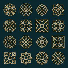 Ornament logo and icon design set. Design Set, Icon Design, Motif Design, Islamic Art Pattern, Arabic Pattern, Pattern Art, Motifs Islamiques, Motif Art Deco, Aesthetic Drawing
