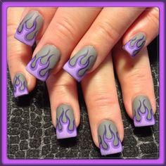 Purple Matte Flames by - Nail Art Gallery by Nails Magazine Nail Art Designs, Fingernail Designs, Nail Polish Designs, Nails Design, Purple Nails, Matte Nails, Hot Nails, Hair And Nails, Fancy Nails