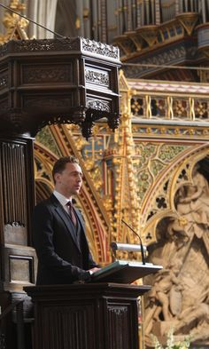 Tom Hiddleston read from the Nave Pulpit (St Matthew 5:1-10) at the service of thanksgiving for the life of The Lord Attenborough CBE at Westminster Abbey on March 17, 2015