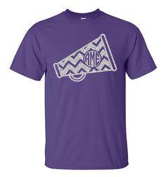 Chevron Monogram Cheer Megaphone Shirt Megaphone by VinylDezignz