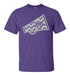 Chevron Monogram Cheer Megaphone Shirt Megaphone by VinylDezignz