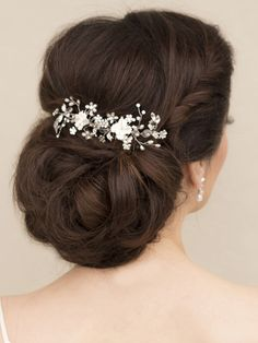 Beaded flower bridal hair combs in a low bun bridal updo hairstyle by Hair Comes the Bride - Bridal Hair Accessories & Jewelry - www.HairComestheBride.com