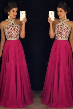 Rose Red Beaded Long Prom Dress for Teens,A line Chiffon Formal Dress N32