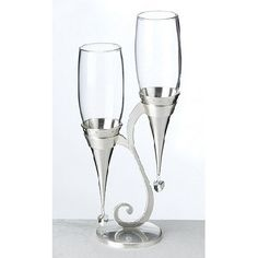 Silver Champagne Flutes and Holder Set - this site has stock