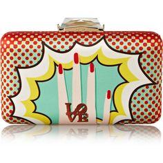 Kotur Espey Pop Art printed satin clutch (8,760 MXN) ❤ liked on Polyvore featuring bags, handbags, clutches, purses, bolsas, bolsos, party handbags, multi colored handbags, colorful purses и clasp purse