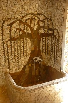Mosaics of B&B La Fossa (Italy). Bathtub with a tree growing out of it (bathroom) Grow Out, Growing Tree, B & B, Mosaics, Bathtub, Italy, Bathroom, Self, Standing Bath