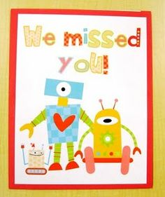 """Free Printable! """"We missed you!"""" folder for students that are absent. Inside there are labels that say """"keep at home"""" & """"return to school"""". Give the student his/her folder when he or she returns."""