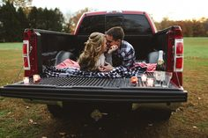 Ford pickup truck loving; pickup truck engagement; fall engagement pictures in Bucks County; Becka Pillmore from Pill Photography