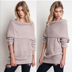 SYDNEY knit off shoulder sweater top - MUAVE Chunky knit off shoulder sweater top. AVAILABLE IN RUST, CREAM & MAUVE.  !!!NO TRADE, PRICE FIRM!!! Bellanblue Tops Tees - Long Sleeve