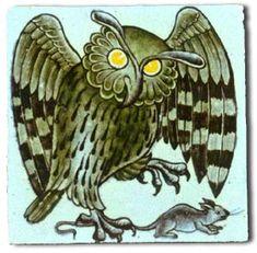 Owl tile by William de Morgan