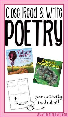 Ideas by Jivey shares ideas to use nonfiction texts to close read and practice paired texts, as well as work on writing poetry in upper elementary classrooms. Teaching Poetry, Teaching Reading, Writing Poetry, Guided Reading, Reading Activities, Spring Activities, Literacy Activities, Holiday Activities, Literacy Centers