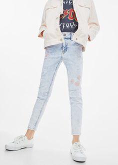 Embroidered patch jeans -  Kids | MANGO Kids USA