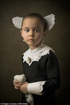 Mr Gekas has created eye-catching images that mimic the painting of the Dutch, Flemish and Italian 17th-century masters