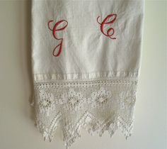 Antique Linen Bath/Hand Towel Hand Woven with by marypearlsvintage