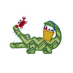 Alligator Crab Bucket Applique Machine Embroidery by HappyApplique