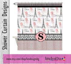 French Poodle Paris Monogram Shower Curtain by KMDesignsBG on Etsy, $68.00 #frenchpoodle #eiffletower #paris @etsy
