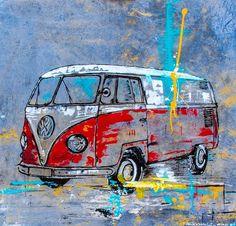 Wenn du auf der Suche nach einer außergewöhnlichen Geschenkidee bist, dann bis… Si está buscando una idea de regalo extraordinaria, entonces está en – I-male-your-bil. Volkswagen New Beetle, Arte Pink Floyd, Bus Art, Hippie Art, Car Drawings, Car Painting, Watercolor Paintings, Cool Art, Retro