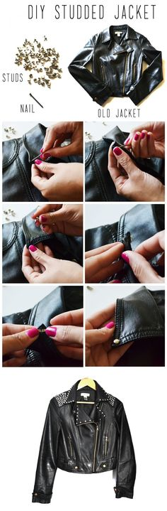 Up-cycle an old leather jacket by adding studs. It's so easy.