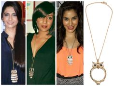#celeb #style #spotting #bollywood #Indian #celebrities #love the #owl #trend #long #necklace #fun #quirky #fashion #statement #sonamkapoor #shwetasalve #sophiechoudry #divas #jewellery #accessories #buy at #zahrajani #now #online #shop #shopping #retail