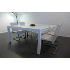 D une petite table rextangle, vous passez à une grande table carré avec un  plateau en verre trempé blanc très élégente ! 5c77f37232df
